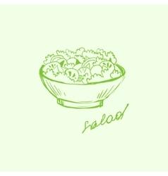 Salad in a bowl handdrawn vector