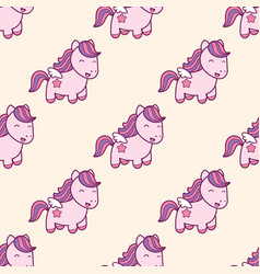 seamless pattern with pegasus in kawaii japanese vector image