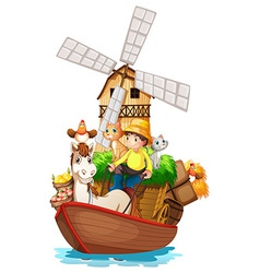 A boat with farm animals and farm fruits vector image