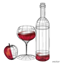 glass of red wine set of glasses vector image vector image