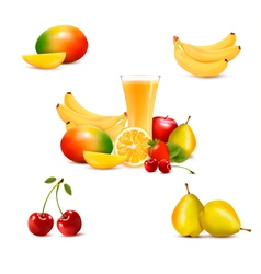 Group of summer and tropical fruit vector image vector image