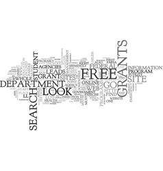 where to search for free grants text word cloud vector image