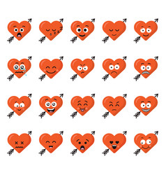 big set funny cartoon heart character emotions set vector image vector image