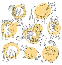 Bull cat cock dog monkey pig rat tiger vector image