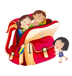 girls and school bag vector image vector image
