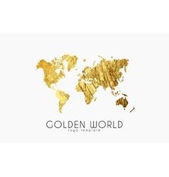 golden world map world logo design creative vector image