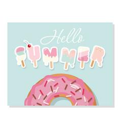 hello summer cartoon ice cream letters cute vector image vector image