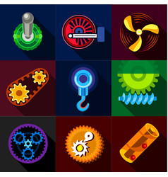 mechanical gear icons set flat style vector image
