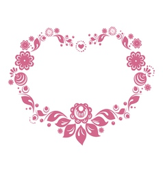 russian style floral heart vector image