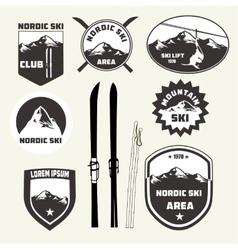 Set of skiing design elements badges logo vector
