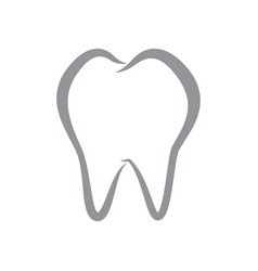 simple tooth line icon on isolated white vector image
