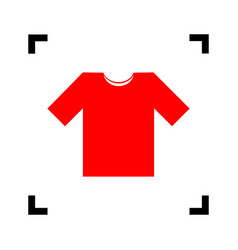t-shirt sign red icon inside vector image vector image