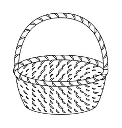 wicker basket made of twigs easter single icon in vector image vector image