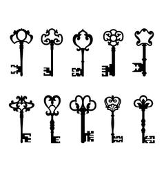 Black vintage keys set vector image vector image