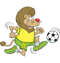 Cartoon Soccer Lion vector image vector image