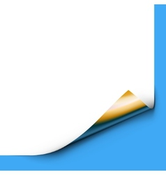 Curled up Paper Corner Isolated on Blue Background vector image vector image