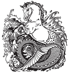 hippocamp black and white vector image vector image
