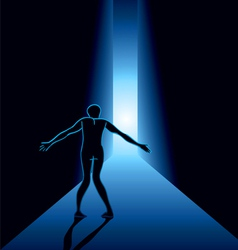 scared man in the hallway vector image