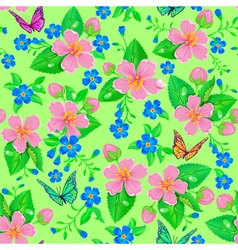 Seamless pattern of spring flowers vector image vector image