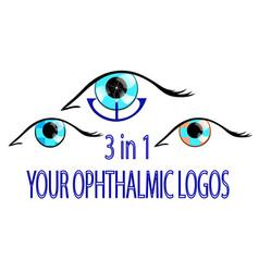 three ophthalmic logos vector image