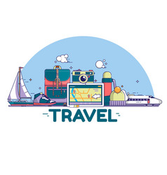 travel concept signs and icons on vector image vector image