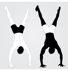 Young upside down standing athletes vector image vector image