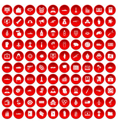 100 war icons set red vector