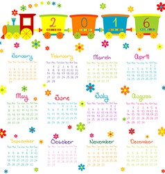 2016 Calendar with toy train and flowers vector image