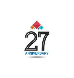 27 anniversary logotype with colorful crown vector