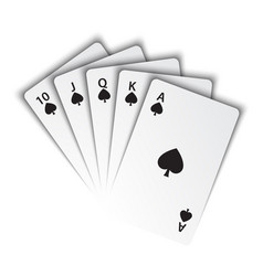 a royal flush spades on white background vector image