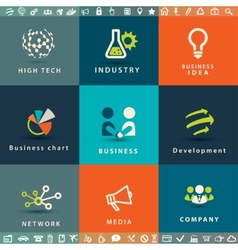 abstract business and technology icons set vector image
