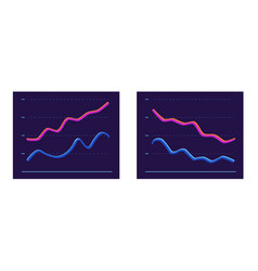 Abstract chart with two 3d line moving up and down vector