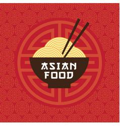 Asian food emblem bowl noodles chopsticks vector