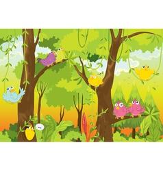Birds in forest vector