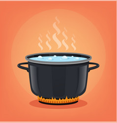 boiling water black pan cooking concept vector image
