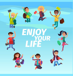 bouncing students hovering in sky enjoy your life vector image