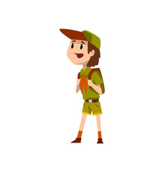 boy scout character in uniform standing with vector image