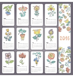 Calendar 2016 with Doodles flowersMonthly cards vector image