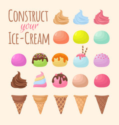 cartoon ice cream and waffle cone cartoon creation vector image