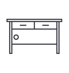 Chest of drawers line icon sign vector