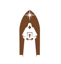Christianity religion priest with bible and star vector