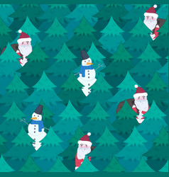 christmas pattern with santa and snoman in forest vector image