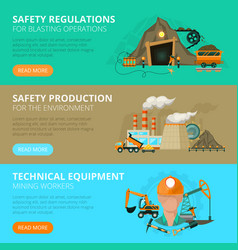 Coal mining 3 flat interactive banners vector