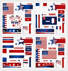 Collection of American Flags France Flags vector image