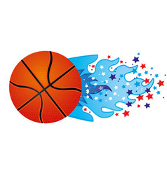 Colorful olympic flame with stars and basketball vector