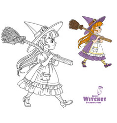 cute girl in witch suit goes forward holding vector image