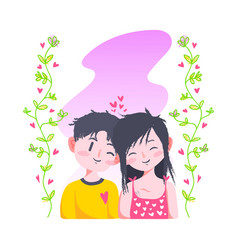 cute love valentine couple doodle vector image