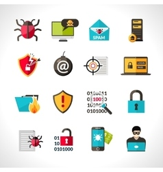 Cyber Virus Icons Set vector