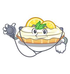 Doctor cartoon lemon cake with sugar powder vector