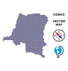 Dotted democratic republic congo map vector
